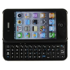 Bluetooth Sliding Keyboard + Rubberized hard shell case for iphone 4